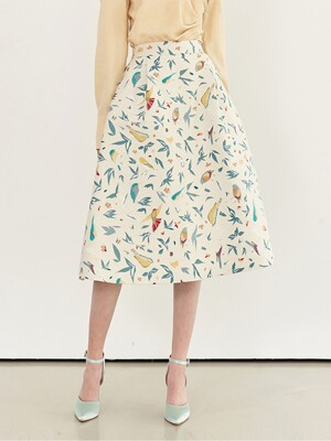 AUDREY Bell shaped skirt(Bird jacquard)