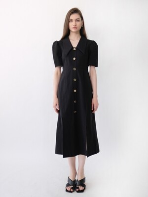EDITH COLLAR SLIT DRESS_BLACK