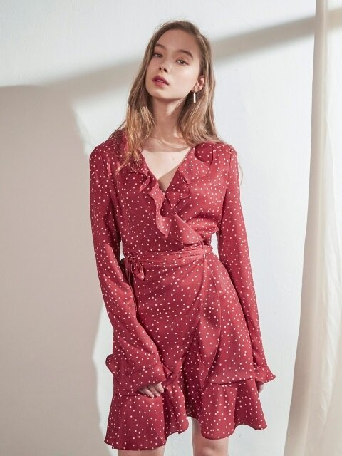 RUFFLE POINT SLEEVES DOT WRAP ONEPIECE