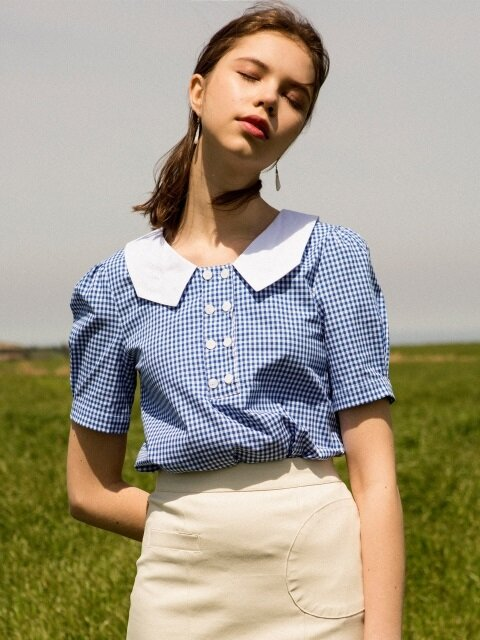 monts704 collar check blouse (blue)