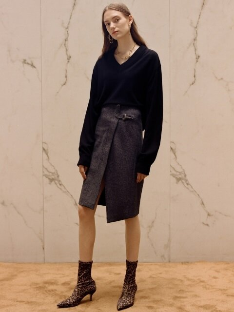 ASYMMETRIC WOOL SKIRT apa253w(Herringbone)