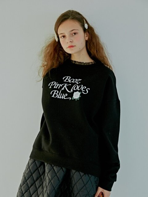 LACE ROSE SWEATSHIRT_BLACK [기모]