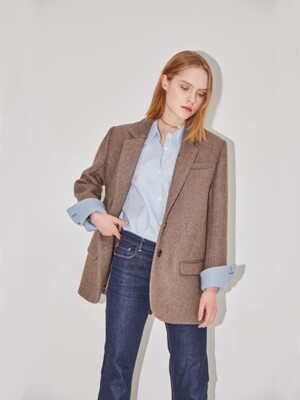 PARIS two button blazer (Sand brown & Baby blue)