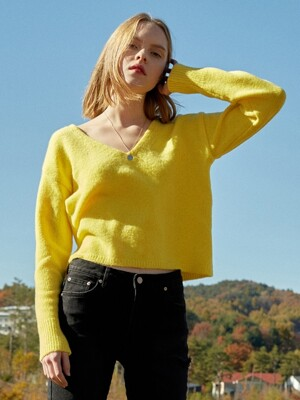 Textured V Neck Knit (Yellow)_VK8WP0500