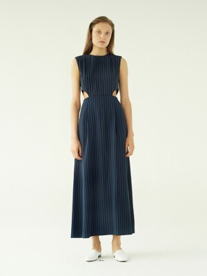 CutOut Sleeveless Dress(NavyBlue)