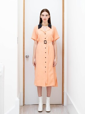 DUMBO notched collar shirt dress (Orange peach&Charcole gray)