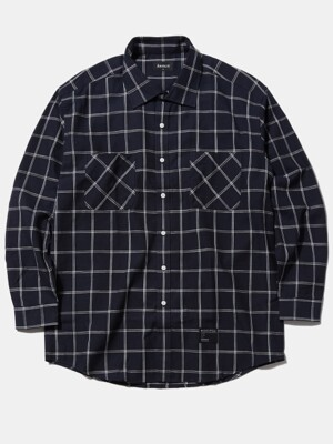 Semi Over-fit check shirt - Navy
