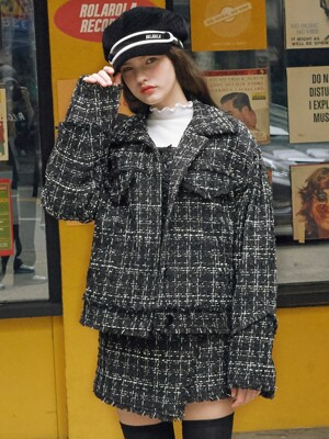 (JK-19502) TWEED JACKET BLACK