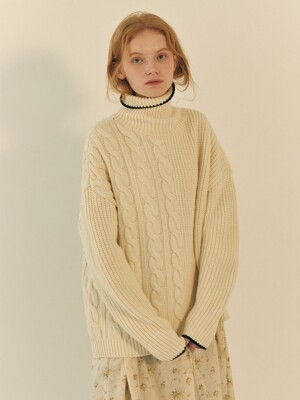 TRES UNBALANCED TURTLENECK SWEATER IVORY+NAVY