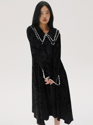[TC19AWOP08] LACE DETAIL VELVET DRESS