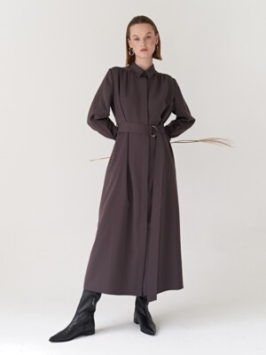 19FW BELTED SHIRRING DRESS D-BROWN