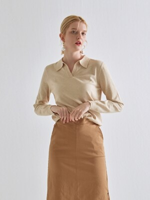 SLIM V COLLAR KNIT_LIGHT BEIGE