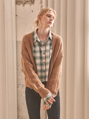 CHUBBY OVER KNIT CARDIGAN_BROWN