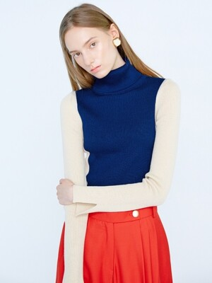 KORE Color Combinated Turtleneck Pullover_Navy&Ivory