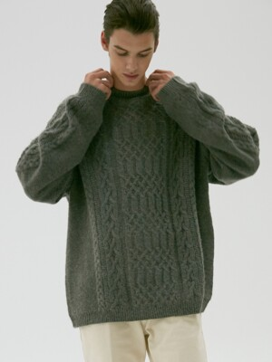 UNISEX CABLE KNIT SWEATER GREY UDSW9F112G2