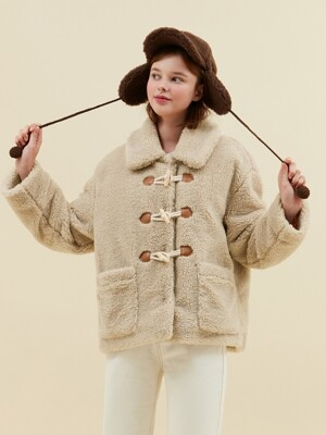 DUFFLE POINT FUR COAT_beige