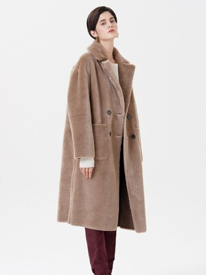 WOOL REVERSIBLE DUMBLE LONG MUSTANG COAT BEIGE