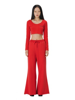 C TRIBAL SYMBOL POINT SWEATPANTS_RED