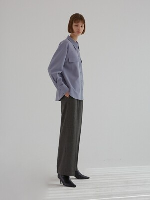 HERRINGBONE WIDE FIT PANTS