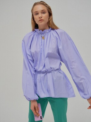 NOA Voluminous Shirred Blouse Lavender with separable tie