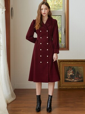 corduroy double shirring dress BU