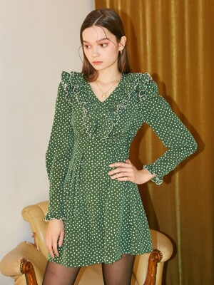 Ruffle Point Mini Dress_ Green
