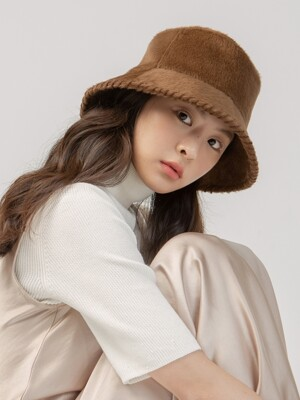 (HANDMADE EMBROIDERY) SOFT BROWN BUCKET HAT