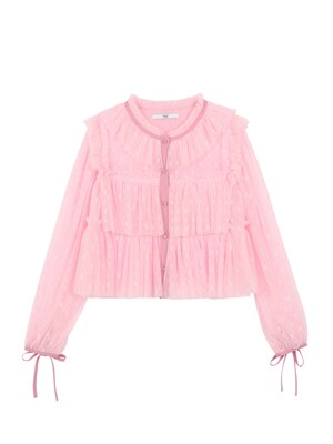LACE TULLE BLOUSE - PINK