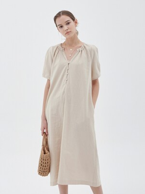 LINEN V-NECK LONG DRESS_BEIGE