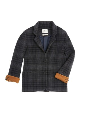 [EXLCUSIVE] LA MADELEINE single button blazer_Gray navy check & Camel