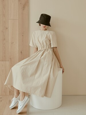 daily shirring long dress[beige]