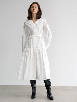 COTTON-BLEND FRILLED MIDI DRESS (WHITE)