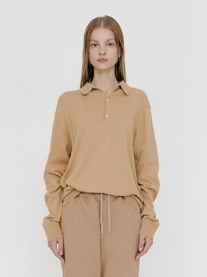 Basic Polo Neck Knit (Beige)