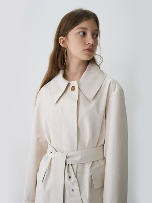 21' Spring_ Cream Basic Single Trench Coat