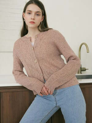 monts 1247 mix round knit cardigan (rose pink)