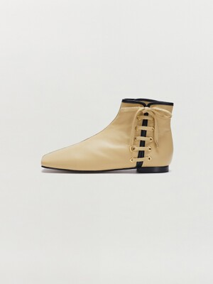 SADIE Lace-up Ankle Boots - Beige