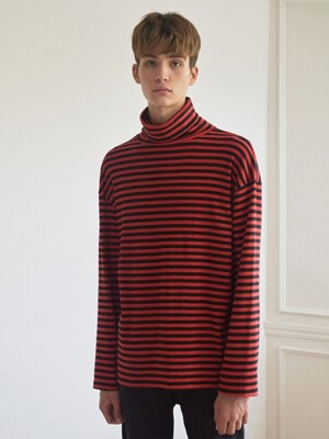 TURTLE NECK STRIPE TEE (RED)