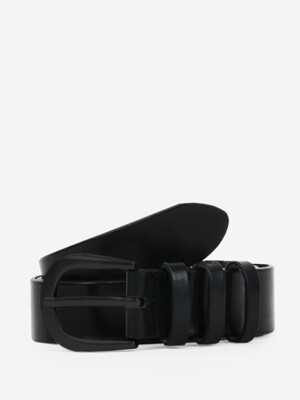3 Ring Matt All Black_Italian Cow Leather Belt
