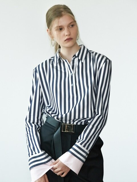 17FW PADDED-SHOULDER STRIPED SHIRT (NAVY)