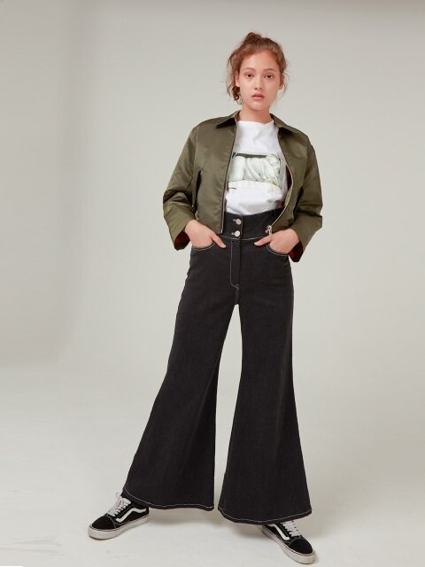MIF FLARED DENIM PANTS