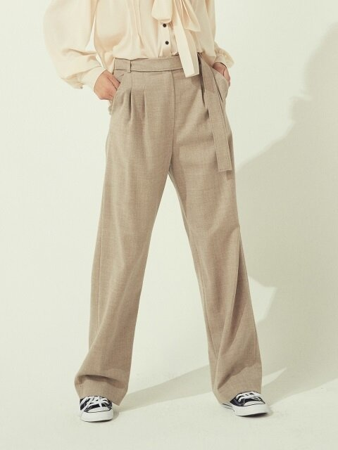 BELTED WOOL PANTS - OATMEAL/BLACK