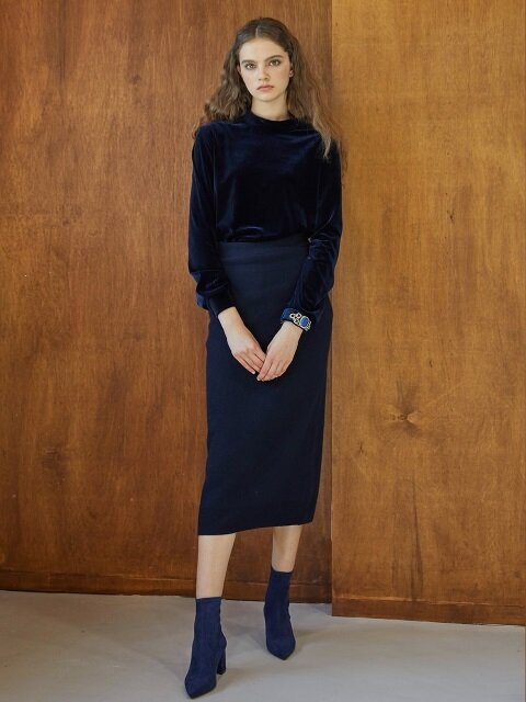 MARY KNIT SKIRT_NAVY