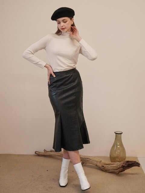 LEATHER MERMAID SKIRT BLACK