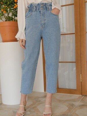 HIGHWAIST BANDING DENIM PANTS_BLUE