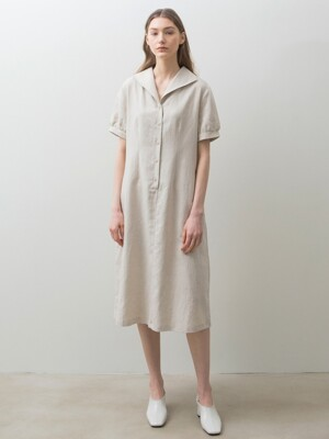 Linen Button Dress - Beige