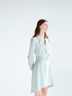 MONICA Classic notched collar unbalance tuxedo dress (Mint)