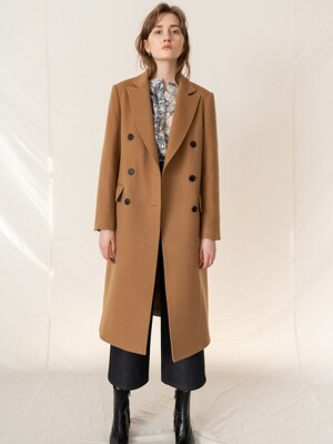 FW19 Cashemere double breasted coat camel