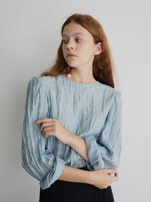 19' FALL_Sky Blue Pleated Blouse