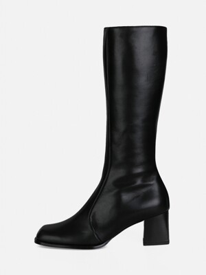 OBLIQUE LONG BOOTS - BLACK