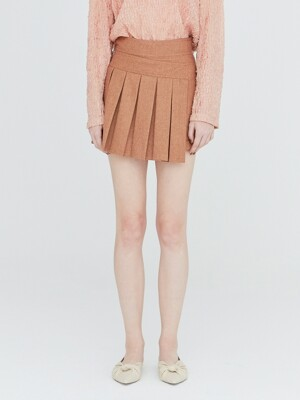 19FW PLEATED MINI SKORT - TAN MELANGE